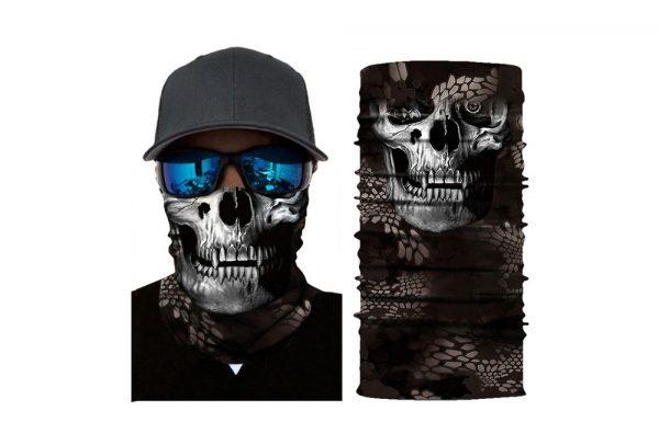 Masca tip bandana esarfa protectoare 3D White Skull